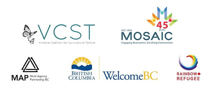 Sponsor logos by VSCT, MOSAIC, MAP, WelcomeBC, and Rainbow Refugee.